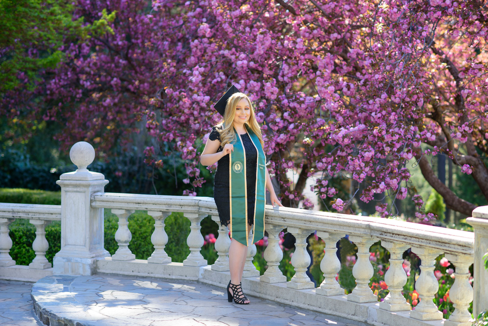Graduation session in beautiful spring garden near Sacramento